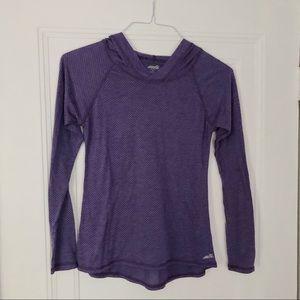 Purple polka dot athletic long sleeve hoodie top